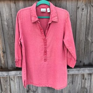 Chico's 100% Linen Factory Faded Pop Over Tunic.